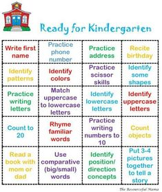Skills to know to be ready for kindergarten