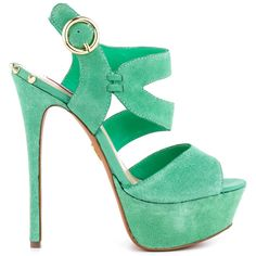 Fashion faux pas will end here in the Endall by Betsey Johnson.  A mint green suede wraps the entire silhouette and features an adjustable strap.  Perfecting this striking sandal is a 6 inch heel and 1 1/2 inch platform.