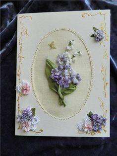 Nice idea for making card - add pretty ribbonwork flowers.