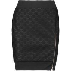 Moschino Metallic intarsia-knit mini skirt ($160) ❤ liked on Polyvore featuring skirts, mini skirts, black, moschino skirt and moschino