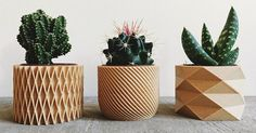 These modern and intricate geometric planters by Minimum Design are 3D printed products made from recycled wood fibers and bioplastic, making them biodegradable.