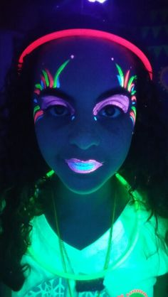 UV paint face paint. Glow in the Dark Tween Party!