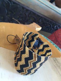 """Zigzag"" mirco beaded wrist cuff bracelet i – Eyre Imports"