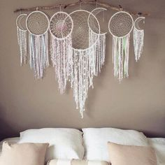 Handmade Home Decor Handmade Home Decor, Diy Home Decor, Dreams Catcher, Los Dreamcatchers, Moon Dreamcatcher, Crochet Dreamcatcher, Diy And Crafts, Arts And Crafts, Home And Deco