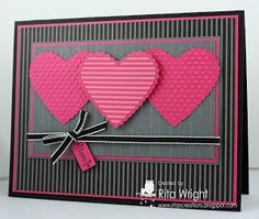 Pink Hearts by - Cards and Paper Crafts at Splitcoaststampers // pink, black, gray, stripes Valentine Love Cards, Valentine Colors, Karten Diy, Paper Cards, Creative Cards, Cute Cards, Greeting Cards Handmade, Anniversary Cards, Scrapbook Cards