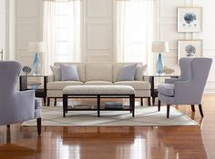 Libby Langdon -VT Interiors - Library of Inspirational Images: Accent Colour | beautiful | soft upholstery with wood legs | windows welcome the daylight in