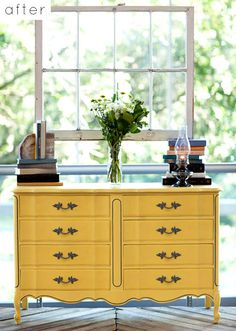 pale yellow dresser w. Yellow Chest Of Drawers, Yellow Dresser, Mustard Dresser, Furniture Makeover, Diy Furniture, Furniture Design, Furniture Vintage, Outdoor Furniture, Refurbished Furniture
