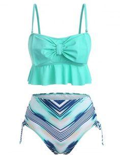 Geometric Print Bowknot Lace Up Tankini Swimsuit Cute Bathing Suits, Cute Swimsuits, Bra Styles, Men Fashion, Fashion Site, Tankini, Lace Up, Women's Swimwear, Moda Masculina