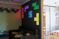 awesome use of block windows...this would be a cool boys room!
