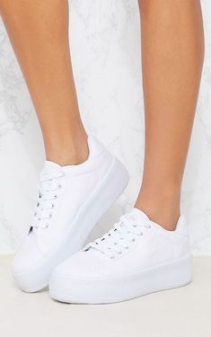 The White Flatform Sneakers. Head online and shop this season's range of shoes at PrettyLittleThing. Platform Tennis Shoes, White Platform Sneakers, White Tennis Shoes, Girls White Shoes, White Sneakers For Girl, Shoes Uk, Me Too Shoes, Shoes Sandals, Shoes Sneakers