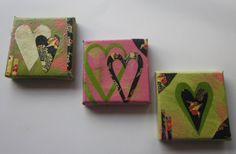 Mother's Day Hearts Original Collage Trio of Small Canvases on Etsy, $30.00