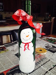 Snowman wine bottle craft