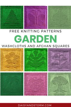 Free Garden Themed Dishcloth and Afghan Squares Knitting Patterns Knitted Dishcloth Patterns Free, Knitting Squares, Knitted Washcloths, Crochet Dishcloths, Knitted Blankets, Knitting Stitches, Knitting Patterns Free, Knitting Yarn, Free Knitting