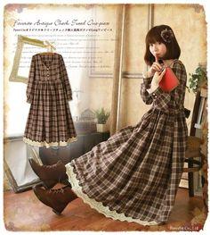 Woman Lolita Sweet Vintage Lace Plaid Tartan Dress Mori Girl Long sleeve #M43 #NEW #Casual