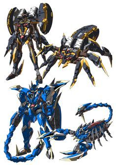 Awesome spider and scorpion transforming mecha Gundam Wing, Gundam Art, Fantasy Character Design, Character Concept, Zoids, Transformers, Mecha Suit, Gundam Wallpapers, Cool Robots