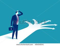 Possibilities. Doubtful businessman selecting the best solution. Concept business vector illustration