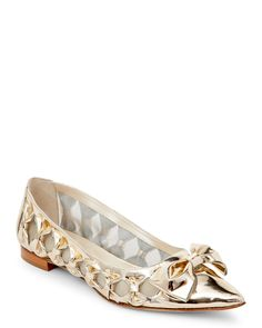 Oscar De La Renta Gold Trina Pointed Toe Bow Flats