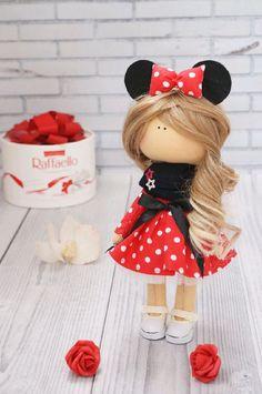 Textile doll Tilda doll Red doll Cloth doll Fabric doll Baby doll Bambole di stoffa Rag doll Handmade doll Art doll Muñecas by Kristina Knitted Dolls, Crochet Dolls, Doll Toys, Baby Dolls, Doll Making Tutorials, Red Dolls, Beautiful Barbie Dolls, Waldorf Dolls, Sewing Toys