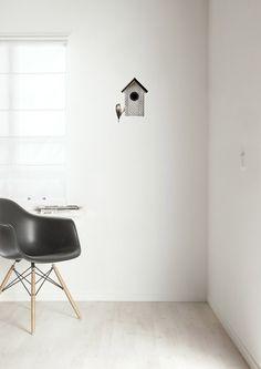 Superleuke+set+van+2+muurstickers:+een+vogelhuis+en+een+musje+erbij.+Het+vogelhuis+is+in+diverse+kleuren+verkrijgbaar.+Price+€14,95