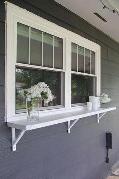 a Window Serving Buffet Build a DIY window ledge buffet for outdoor entertaining!Build a DIY window ledge buffet for outdoor entertaining! Deck Design, Window Design, House Design, Garden Design, Window Bars, Decks And Porches, Front Porches, Building A Deck, Backyard Patio