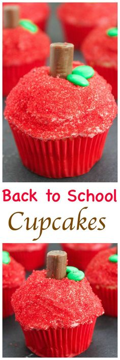 Back to School Apple Cupcakes: Moist vanilla cupcakes topped with fluffy buttercream frosting and decorated to resemble an apple. Perfect for a first day of school treat!