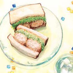 Cute Food, Good Food, Food Sketch, Food Painting, Tuna Recipes, Food Drawing, Food Illustrations, Illustration Art, Food Art
