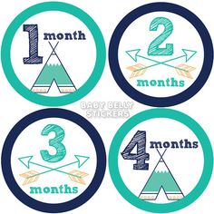 Tribal Baby Month Stickers Monthly Baby by BabyBellyStickers