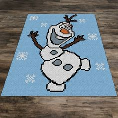 Crochet Blanket It is snowy day and Olaf can't be crochet blanket. SC (Single Crochet), HDC (Half Double Crochet), DC (Double Crochet), TSS (Tunisian Simple Stitch), or Bobble Stitch blankets. Olaf Crochet, Frozen Crochet, Knit Crochet, C2c Crochet Blanket, Crochet Blanket Patterns, Crochet Afghans, Crochet Blankets, Half Double Crochet, Single Crochet
