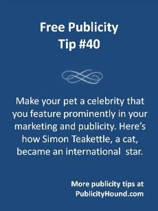 "Naming your website or company after your pet, and then tying your marketing to the pet, can result in publicity galore for your small business. Barbara Florio Graham's cat, Simon Teakettle, has been dubbed ""the cat that owns the company,"" in an article in Business Week and on MSNBC. He has his own calendar, Facebook page and website. Simon has been featured in Business Week, on MSNBC and on the CBC/Radio-Canada. #pets #smallbiz #smallbizpr"