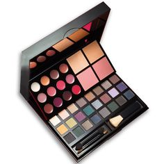 "40 beautiful shades! Create infinite looks with classic neutrals, rich jewel tones and sultry smoky shades or mix it up fo ryour own custom creation! Cover is beautifully decorated. Comes in festive gift box. Perfectly sized to carry everywhere. 5 3/4"" L x 6 1/2"" W x 3/4"" H. Plastic.<br>INCLUDES:<br><b>• 24 Eyeshadows,</b><br>each, .017 oz. net wt.<br><b>• 12 Lip Glosses,</b><br>each, .010 oz. net wt.<br><b>• 2 Blushes,</b><br>each, .109 oz. net wt.</b><br><b>• 2 ..."