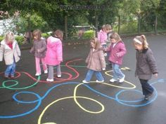 Image - Child Education - Aluno On - Einrichtungsstil Gross Motor Activities, Summer Activities, Preschool Activities, Recess Games, Playground Games, Playground Painting, Outdoor Classroom, Outdoor Learning, Kids Education