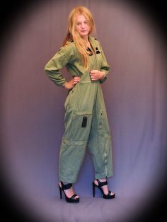 Authentic Airforce flying JUMPSUIT wool denim army green VTG Military Hoodie zippers parachute overall boho Stevie Nicks grunge warrior on Etsy, $98.00