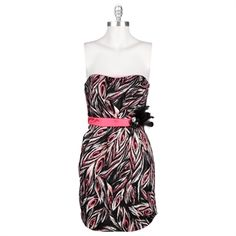 Trixxi Juniors Pink Peacock Dress