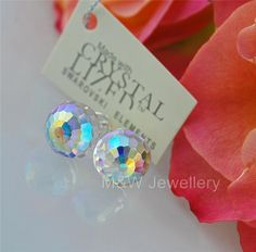 Ebay-jewellerymw-STUDS EARRINGS SWAROVSKI ELEMENTS FIREBALL CRYSTAL AB 10mm STERLING SILVER 925-$12.28