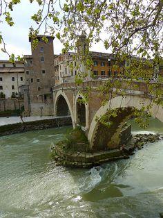Bridge to Tiber Island in Rome, Italy