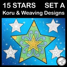 A set of 15 stars designed for New Zealand classrooms when celebrating Matariki or Christmas. The koru and weaving designs are inspired by Māori culture. Two blank templates are also included for your students to design their own whetū. This is SET A which contains 11 koru designs, 3 weaving de... School Resources, Classroom Resources, Teaching Resources, Stocking Template, Goal Setting Template, Weaving Designs, Maori Art, Classroom Environment, Writing Poetry