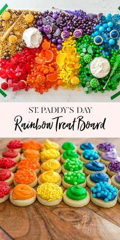 St Paddys Day Rainbow Treat Board - Our St. Patrick's Day Rainbow Treat Board makes for a perfect St. Rainbow Treats, Rainbow Candy, Rainbow Food, Rainbow Stuff, Gluten Free Party Food, Easy Party Food, Jenny Cookies, Rainbow Birthday Party, Rainbow Parties