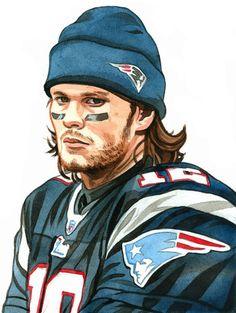 Tom Brady portrait by Eric Davison, via Behance Sports Decor, Sports Art, Nfl Sports, American Sports, American Football, Kenny Wormald, Patriots Fans, Football Art, Tom Brady