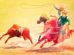 Wild West Watercolor on canvas by Arizona artist, Narciso Piu
