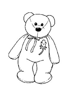 ty coloring pages | Coloring & Activity Pages: Beanie Baby Bear with Rose Coloring Page