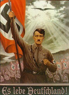 I remember seeing this painting of Hitler when i went to tour Hitler's Bunker. On both sides of the painting, there were old photographs of the brutal actions that took place under the Nazi Party.