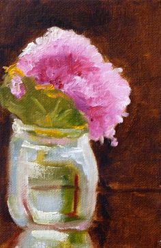 Pink Flower Painting Original Oil on Canvas by smallimpressions, $35.00