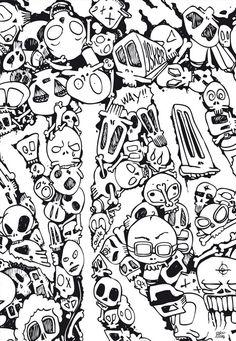Participez au design des tableaux, posters, vinyls et papier peint Graffiti Doodles, Graffiti Lettering, Doodle Drawings, Doodle Art, Mushroom Drawing, Doodle Characters, Kawaii Halloween, Skull Artwork, Free Adult Coloring Pages