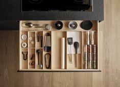 LINE Interior accessories by Santos Kitchen Drawer Organization, Kitchen Drawers, Black Kitchens, Cool Kitchens, Interior Accessories, Kitchen Accessories, Kitchen Furniture, Kitchen Decor, Kitchen Hacks