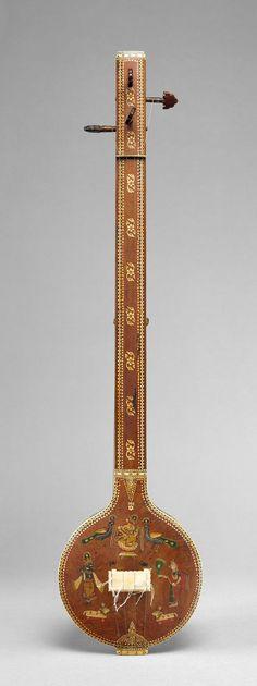 Pandharpuri Tambura.  Date:     19th century. Geography:     India. Medium:     Gourd, wood, bone, ivory.