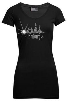 INDIVIDUELLES STRASS HAMBURG SKYLINE V-AUSSCHNITT LADIES PREMIUM LONG T-SHIRT!