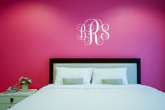 Decals That Dazzle - Monogram Wall Decal - Personalized Initials - College Dorm Room - Teen Wall Mural - Monogrammed Wall Vinyl Decal Custom