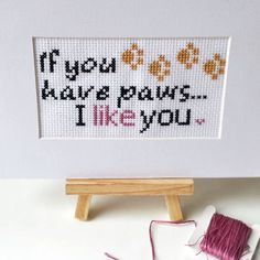 Animal Lover Stitch - paws quote embroidery - cute needlework design