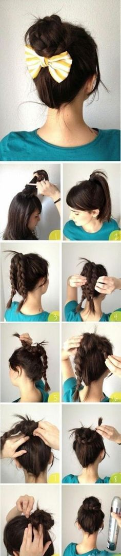 Doubled braided bun with a super cute bow|| another hairdo I gotta try!