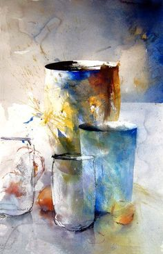 Jars and Urn - Lars Eje Larsson - watercolor Watercolor Artists, Abstract Watercolor, Watercolor Paintings, Abstract Art, Watercolours, Pinturas Em Tom Pastel, Still Life Art, Paintings I Love, To Infinity And Beyond
